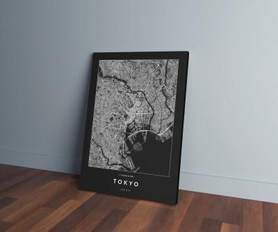 Tokió úthálózata vászonképen - sötét