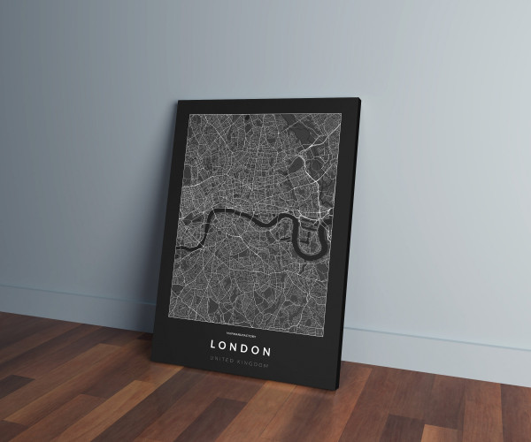 London úthálózata vászonképen - sötét