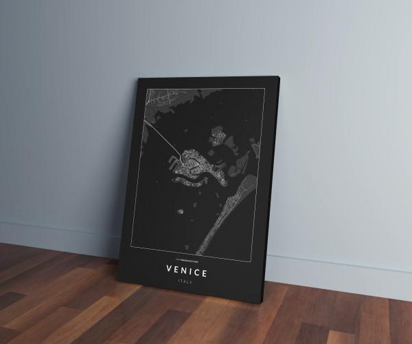 Velence úthálózata vászonképen - sötét