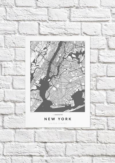 New York úthálózata poszteren - világos-1