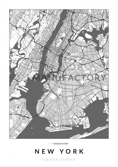 New York úthálózata poszteren - világos