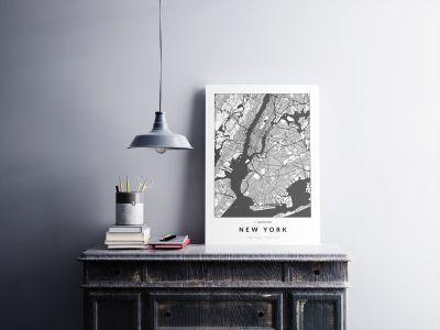 New York úthálózata poszteren - világos-2