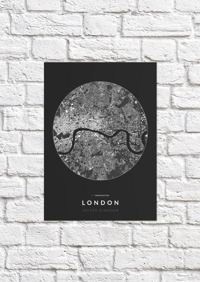 London épületei körben poszteren - sötét-1