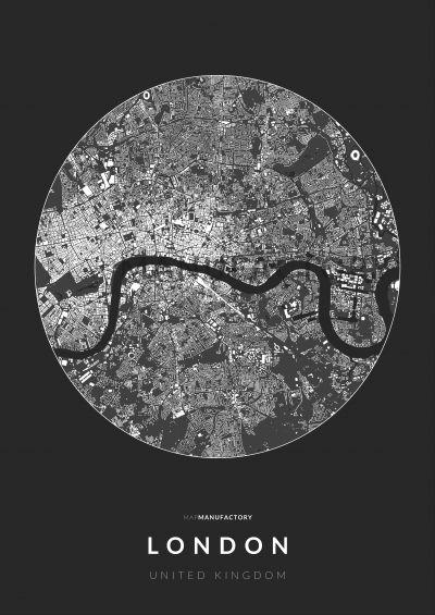 London épületei körben poszteren - sötét