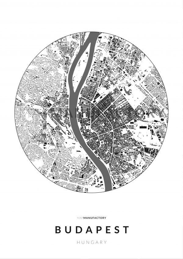 Budapest épületei körben poszteren - világos