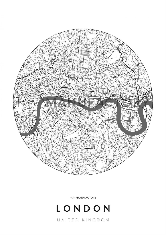 London úthálózata körben poszteren - világos