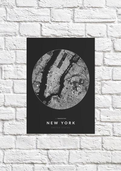 New York épületei körben poszteren - sötét-1
