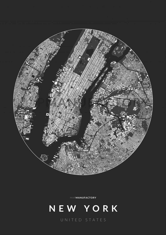 New York épületei körben poszteren - sötét