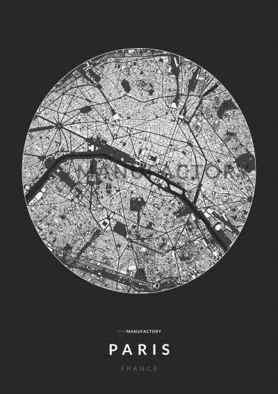Párizs épületei körben poszteren - sötét