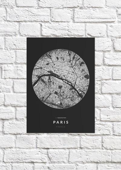 Párizs épületei körben poszteren - sötét-1