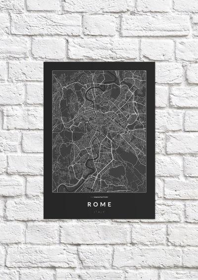 Róma úthálózata poszteren - sötét-1