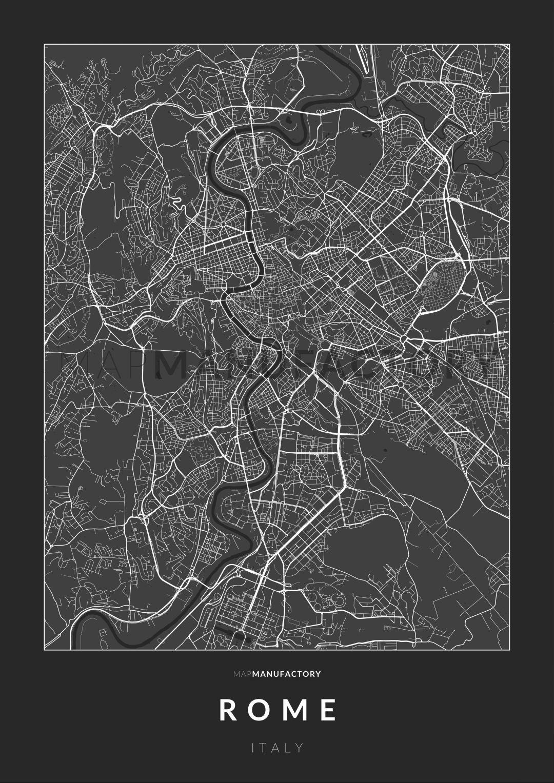 Róma úthálózata poszteren - sötét