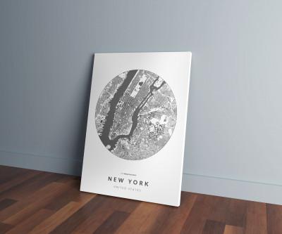 New York épületei körben vászonképen - világos-0
