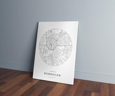 Debrecen úthálózata körben vászonképen - világos-0