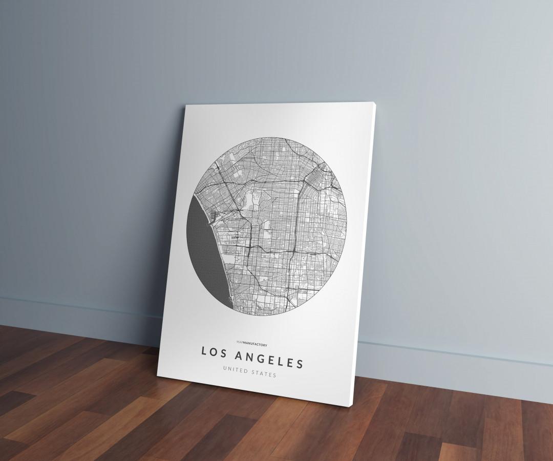 Los Angeles úthálózata körben vászonképen - világos