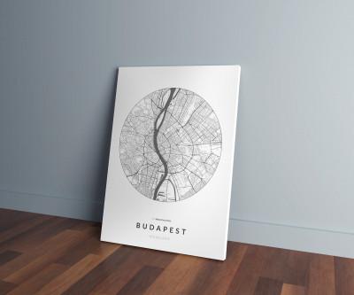 Budapest úthálózata körben vászonképen - világos