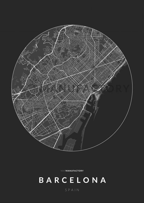 Barcelona úthálózata körben poszteren - sötét