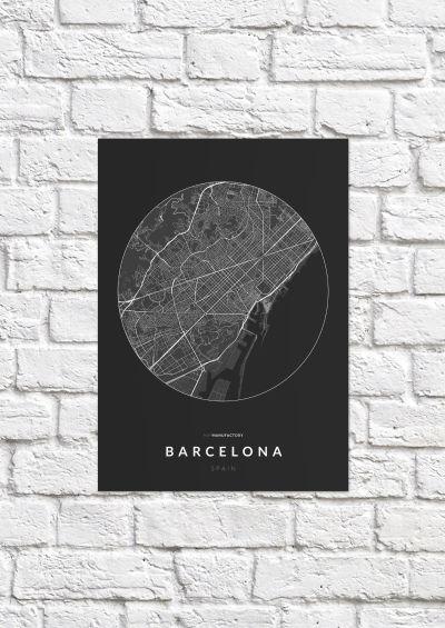 Barcelona úthálózata körben poszteren - sötét-1
