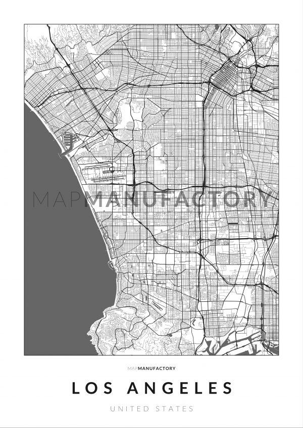Los Angeles úthálózata poszteren - világos