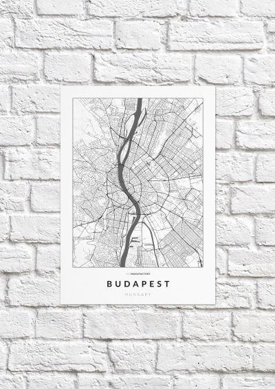 Budapest úthálózata poszteren - világos-1