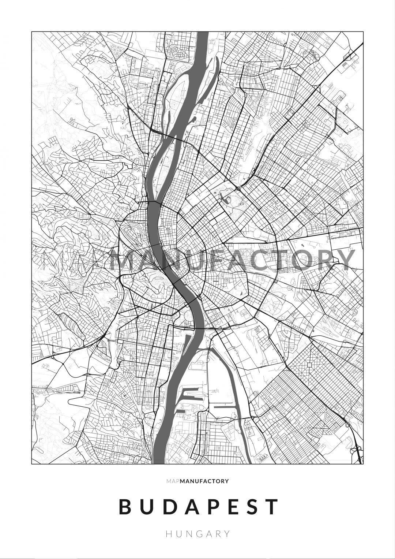 Budapest úthálózata poszteren - világos
