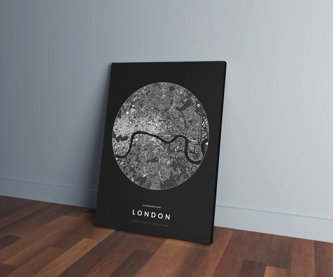 London épületei körben vászonképen - sötét