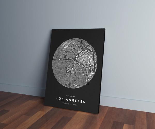 Los Angeles épületei körben vászonképen - sötét