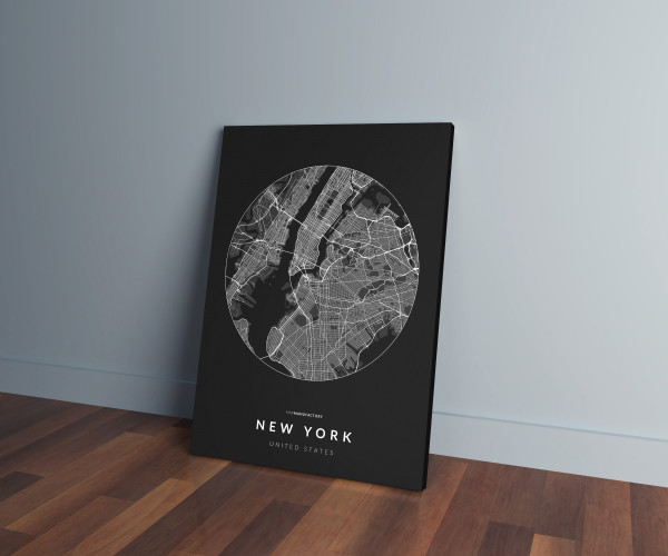 New York úthálózata körben vászonképen - sötét