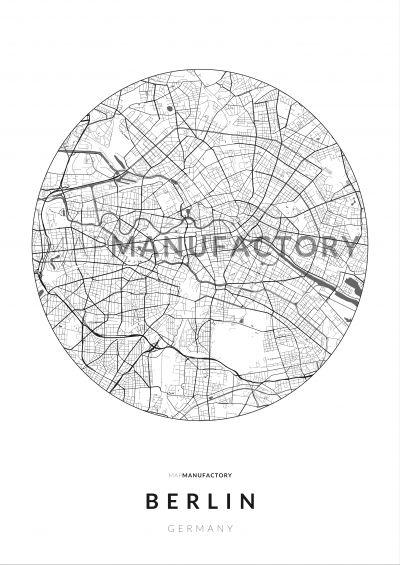 Berlin úthálózata körben poszteren - világos