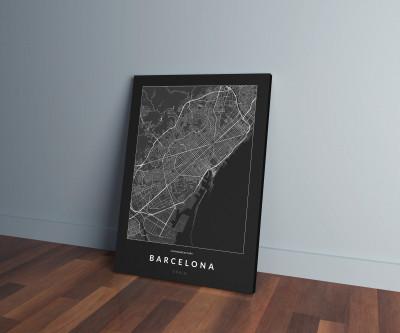Barcelona úthálózata vászonképen - sötét