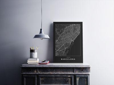 Barcelona úthálózata poszteren - sötét-2