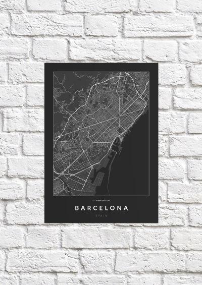 Barcelona úthálózata poszteren - sötét-1
