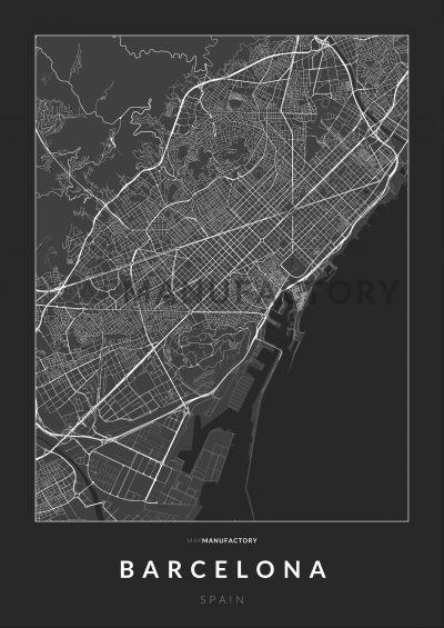 Barcelona úthálózata poszteren - sötét