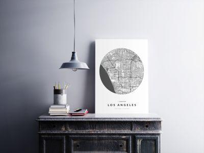 Los Angeles úthálózata körben poszteren - világos-2
