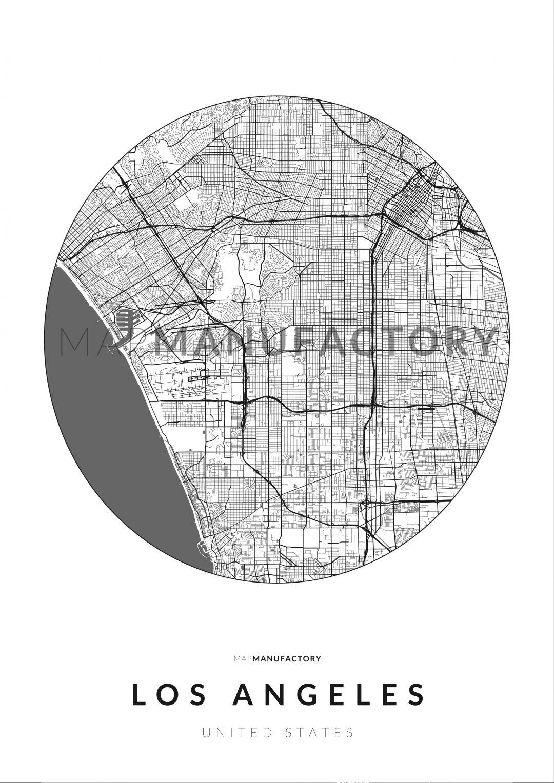 Los Angeles úthálózata körben poszteren - világos