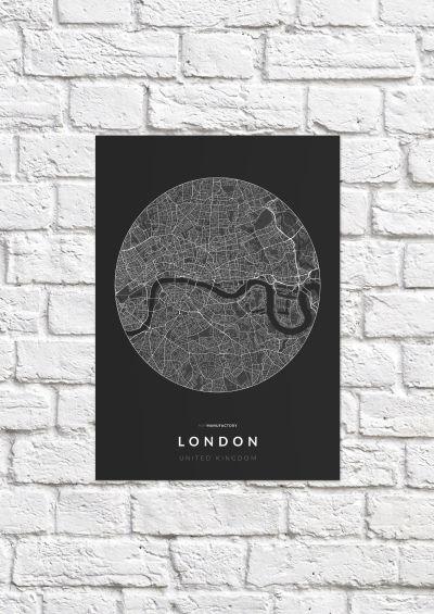 London úthálózata körben poszteren - sötét-1