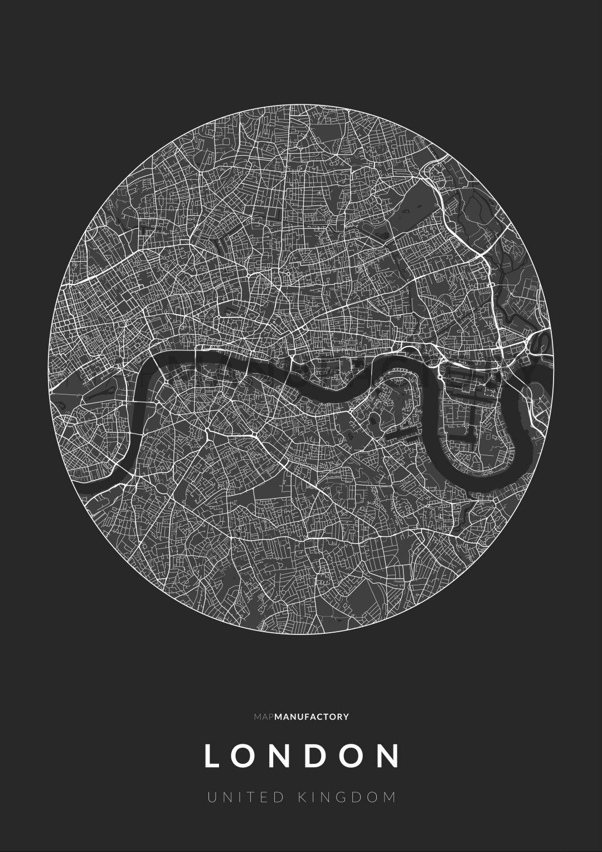 London úthálózata körben poszteren - sötét