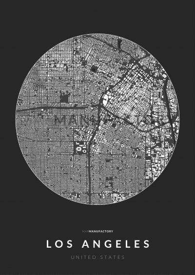 Los Angeles épületei körben poszteren - sötét