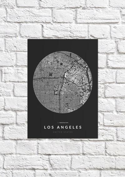 Los Angeles épületei körben poszteren - sötét-1