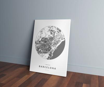 Barcelona épületei körben vászonképen - világos