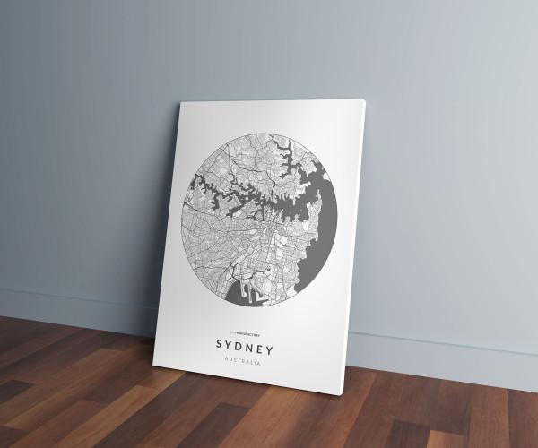 Sydney úthálózata körben vászonképen - világos