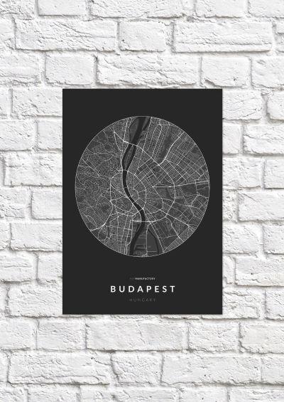 Budapest úthálózata körben poszteren - sötét-1