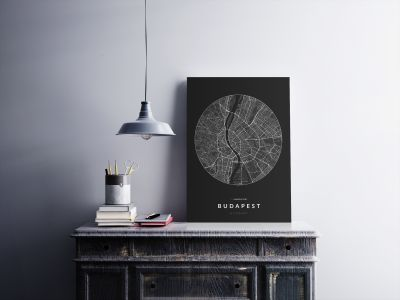 Budapest úthálózata körben poszteren - sötét-2