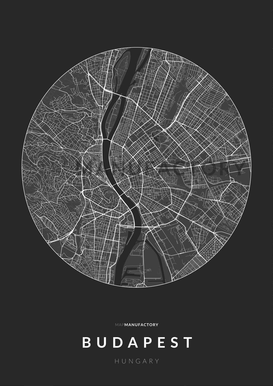 Budapest úthálózata körben poszteren - sötét