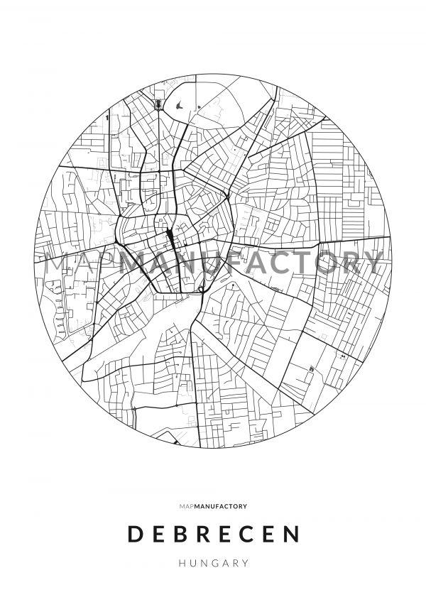Debrecen úthálózata körben poszteren - világos