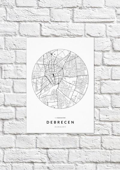 Debrecen úthálózata körben poszteren - világos-1