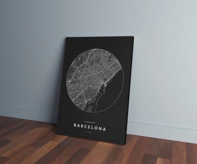 Barcelona úthálózata körben vászonképen - sötét