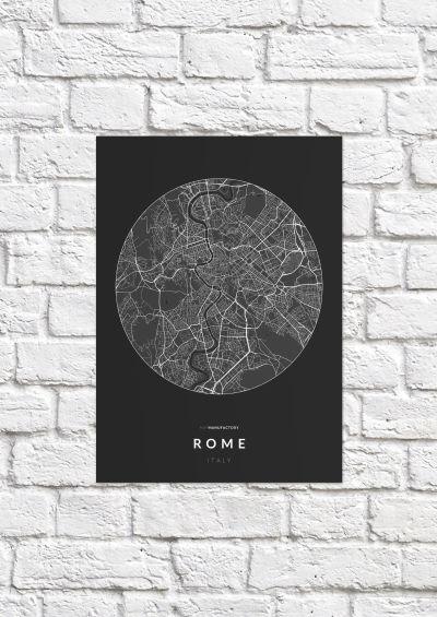 Róma úthálózata körben poszteren - sötét-1