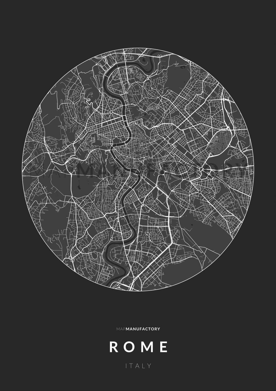 Róma úthálózata körben poszteren - sötét