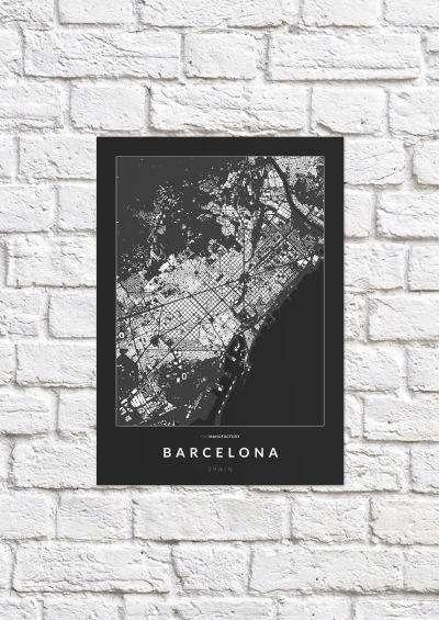 Barcelona épületei poszteren - sötét-1